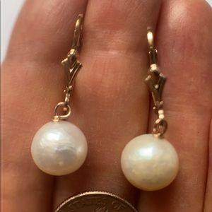 9.5mm White Cultured Pearls 14K ROSE Gold Filled